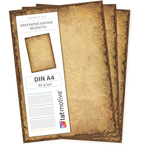TATMOTIVE Vintage Altes Casanova Briefpapier 90g DIN A4 Beidseitig, 100 Blatt braun (Pergament-foto-papier)