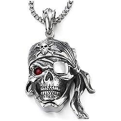 Collar de calavera pirata para hombre, de acero Inoxidable.