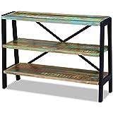 Festnight Retro-Stil Sideboard Holz Anrichte mit 3 Regale Beistelltisch aus Recyceltes Massivholz 110 x 35 x 78 cm als Konsolentisch Seitenschrank