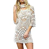SUNNOW Tunique Femme Sexy Robe été Dos Nu Tunique-Pareo plage Sexy Dentelle Sarong Lace Hippie Robe de Plage Bikini Cover Up Pareo Tricot Crochet