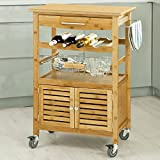 SoBuy® Carrello di servizio,Mensola angolare,Scaffale da cucina,bambù,FKW09-N,IT