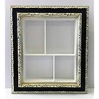 Bacheca da muro rettangolare con cornice lavorata nera e foglia argento,cm72x82