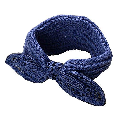 Bleu bowknot mignon laine tricotée Hairband Bandeaux Sport Headwrap
