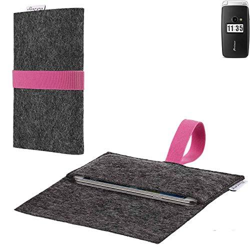flat.design vegane Handy Hülle Aveiro für Doro Primo 413 passgenaue Filz Tasche Case Sleeve Made in Germany