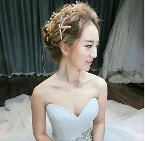 TFXWERWS Charming Brautschmuck Hochzeit Haarspange Blätter Perlen Seestern Haar Clip Kette Headpiece- Gold