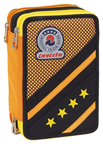 Astuccio 3 zip invicta - kupang - attrezzato con penne, matite, pennarelli nero giallo, poliestere