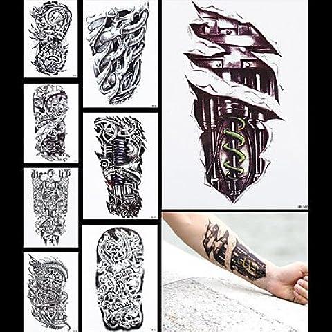 HJLWST® 8pcs manica corpo donne uomini gamba drago macchina falso tatoo indietro Art Sticker temporanea tatuaggio impermeabile