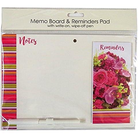 Lavagna magnetica con messaggio promemoria Pad e penna–Fiori–dimensioni 264mm x 185mm