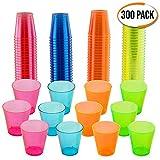matana 300er Pack Neon Party Plastik Schnapsgläser und bunte Einweg-Becher – 30ml Schnapsbecher, Plastikbecher & Pinnchen aus Kunststoff – ideale Shotgläser für Shots