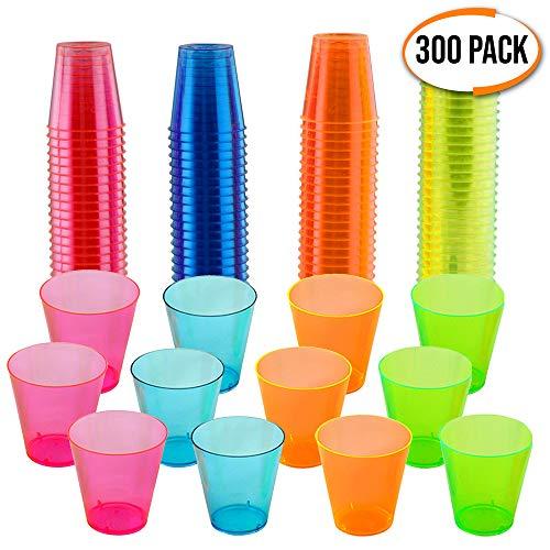 300 Vasos de Chupito Desechables de Plástico Duro - Neón Colorido 30 ml - Reutilizable, Material Ecológico - Vasos para Shots para Chupitos y Vodka Jelly en Fiestas de Navidad - 100% Reciclable