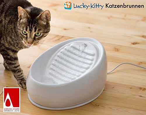 Lucky-Kitty Katzenbrunnen aus Keramik. Neue Farbe: Grau - 2