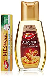 Dabur Almond Hair Oil, 200ml with Free Dabur Meswak Toothpaste, 50g