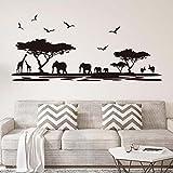 ufengke home Silueta Africana del Safari Pegatinas de Pared Árboles Elefante Jirafa Aves Antílope Negro Decorativo Extraíble DIY Vinilo Pared Calcomanías para Sala de Estar, Dormitorio