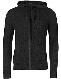 Firetrap Blackseal Full Zip Knit Cardigan à capuche pour homme Gris anthracite Pull Top