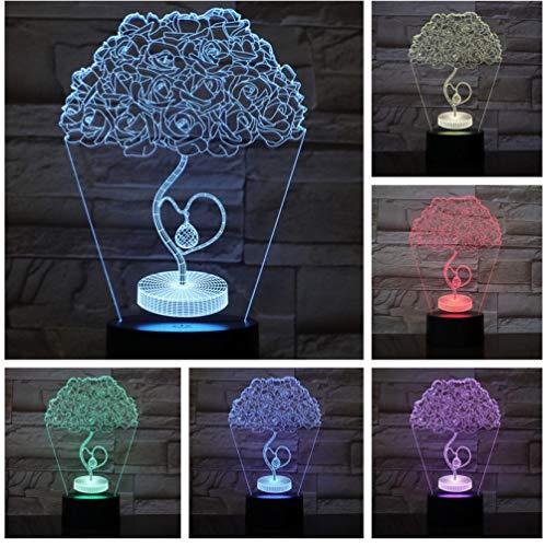 Lámpara de mesa Love Heart Rose Tree Lámpara LED 3D Noche RGB Niña Niño Niños Bebé Regalos de cumpleaños USB 3D LED Luz nocturna