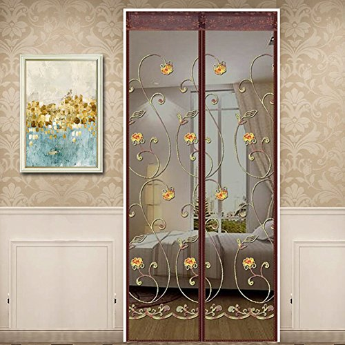 Pantalla de mosquiteros magnéticos para bordado, sello de arriba a abajo automáticamente, mosquiteros de malla fina Mosquitera de cortina puerta para balcón Sala de estar para niños, 140x220cm, café