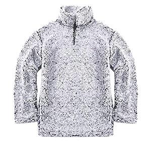 Pullover Herren,Lässige Sweatshirt mit Reißverschluss Resplend Winter Warm Pulli T-Shirt Oberteil Plüsch Pullover Langarm Flauschige Stehkragen Lange Ärmel Streetwear