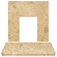 Adam Fireplace Back Panel and Hearth Set in Botticino Marble, 54 Inch