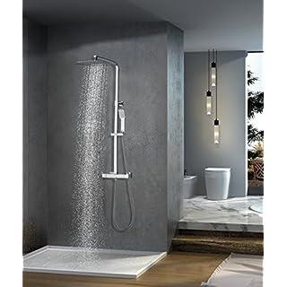 Elbe Duschsystem Edelstahl mit Thermostat Regendusche, Handbrause, Duschsäule Duschset verchromt, quadratische Überkopfdusche, für Wellness Luxus und Duschvergnügen im eigenen Bad_RNP-C06