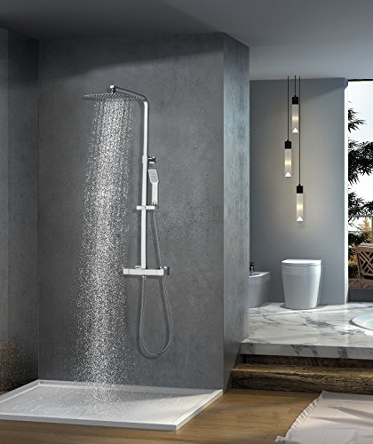 Elbe Duschsystem aus Edelstahl, Duschsäule mit Thermostat, Duschgarnnitur Regendusche Brausegarnitur mit Mischbaterrie, Duschset Rainshower, quadratische Überkopfbrause_RNS-C06