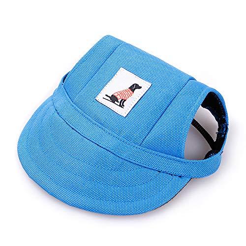 KDSANSO Hundemützen, Welpenmütze für Kleine Hunde Visier Design Mode Hunde Baseball Sonnenhüte Sportkappe mit Ohrmuscheln und Kinnriemen für Welpen Chihuahua Teddy Mops verkleiden Sich (Blau ()