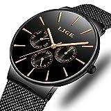 Watch-LUTEM Herren Minimalistische Ultradünne Wasserdichte Armbanduhren Uhr Uhren mit Milanese Armband, Schwerelos, Quarzwerk, Wochen- / Datums- / 24-Stunden-Anzeige