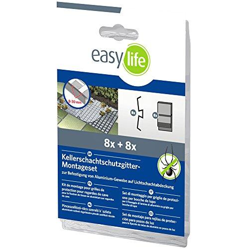 easy life Montageset für Lichtschachtgitter Kellerschacht-Gitter Befestigungs-Zubehör für Lichtschachtabdeckung