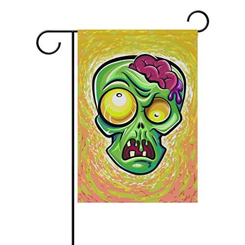 MyDaily Witzige Zombie-Kopf-Dekoration, doppelseitig, 30,5 x 45,7 cm & 71,1 x 101,6 cm, Polyester, Multi, 12 x 18 inch