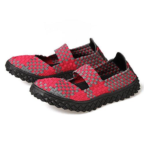 Paris-Hügel-Frauen-Beleg auf flachen Schuhen Breathable gesponnene Wasser-Schuhe 02PINK