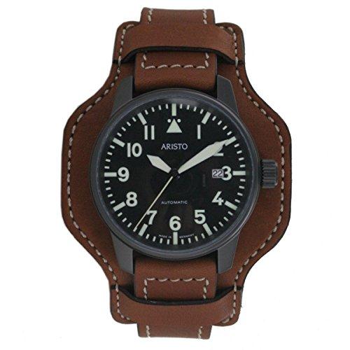Aristo Reloj de hombre reloj de pulsera Planeador Automatic Reloj 0h11piel