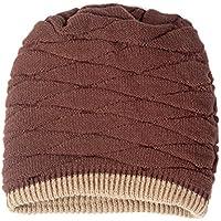 OULII Suave gruesa forrada de hombres punto cráneo tapa invierno cálido Slouchy Beanies sombrero regalos para hombres (Wollen café)