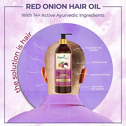 Organicure Red Onion & Castor Hair Oil For Hair Growth, Hair Fall & Dandruff Control With Natural & Essential Oils Of Argan, Bhringraj & Coconut Oil | Men & Women | 200 Ml