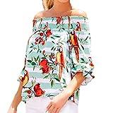 Yanhoo 2018 Neu Mode Sexy Frauen Kurz Ärmel Papagei Flower Print Slash Hals Tops T-Shirt Bluse