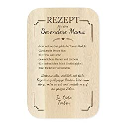 Casa Vivente Frühstücksbrettchen mit Gravur, Rezept für Mama, Personalisiert mit Namen, Schneidebrett aus hellem Holz, Muttertagsgeschenk