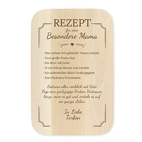 Casa Vivente Frühstücksbrettchen mit Gravur - Rezept Mama - Personalisiert mit Namen - Schneidebrett aus hellem Holz - Muttertagsgeschenke - Geschenkideen zum Geburtstag für Frauen - Maße: 23 x 15 cm