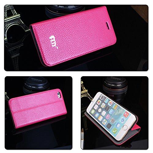 Pdncase iPhone 6 Genuine Leder Tasche Case Hülle Flip Style Schutzhülle für iPhone 6 Farbe Rot Rose