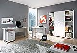 Büro komplett Arbeitszimmer komplette Büroeinrichtung 7-TLG in Weiß, Eckschreibtisch mit Kabeldurchlässen, 22mm starken Tischplatten, Gesamtarbeitsfläche 220 x 170 cm