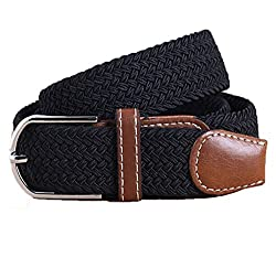 Mens Woven Stretch Braided Elastic Leather Buckle Belt (Black)