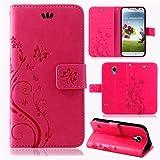 betterfon | Flower Case Handytasche Schutzhülle Blumen Klapptasche Handyhülle Handy Schale für Samsung Galaxy S4 Pink