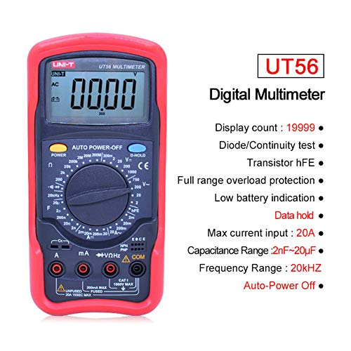 UT56 Multifunktionshochpräzise Digital Multimeter, True RMS Handkette 20000 Grafen 20A 1000V Widerstandsfähigkeit Frequency Electrical Meter