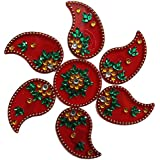 Handmade Elegantly Designed Red Rangoli - With Keri Shaped Design Decorated With Multicolour Stones And Beads On Red Round Square Shaped Plastic Base - 7 Pieces Set - Packed In Transparent Pouch