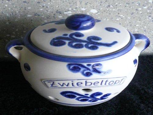 Zwiebeltopf aus Keramik Dekor weiß-blau Inhalt 1,25 ltr.