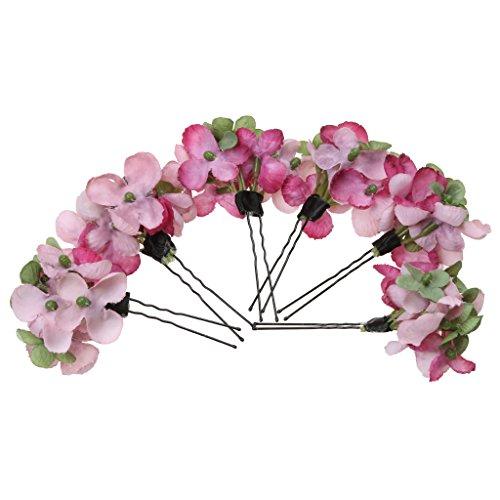 Generic 6Pcs Romantische Blumen Haarspangen Haarclip Haarklammer Hochzeit Braut Haarschmuck - Rosa, L
