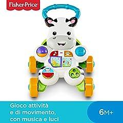 Idea Regalo - Fisher Price Zebra Primi Passi Spingibile, Giocattolo Elettronico Educativo con Musica e Suoni, Adatto per Bambini dai 6 Mesi, DLD91