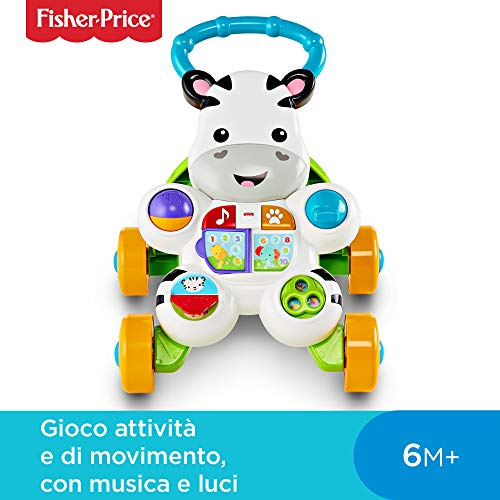 Fisher Price Zebra Primi Passi Spingibile Giocattolo Elettronico Educativo con Musica e...
