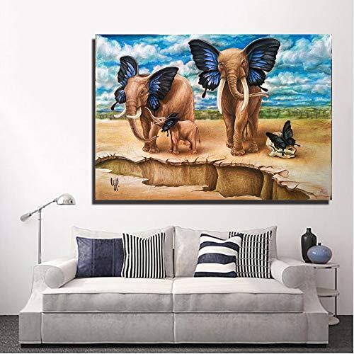 RTCKF Famiglia di Farfalle Elefante Quadro su Tela Immagine per Camera da Letto o Soggiorno Decorazioni Moderne (Senza Cornice) A4 50x70 cm