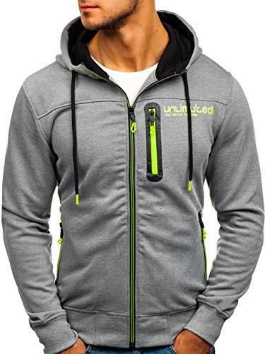 BOLF Herren Kapuzenpullover Sweatshirt Hoodie Zip Outdoor Sport Street Style T&C Star TC870 Grau XXL [1A1]