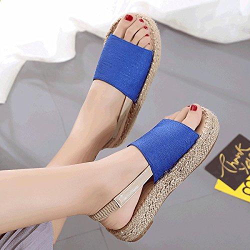Damen Sandalen Flach Plateau Rundzehen Espadrilles Atmungsaktiv Natürlich Römer Stil Bequem Slip on Sommer Schuhe Blau