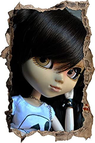 poupées Pullip avec différents yeux de couleur mur percée en 3D look, mur ou format vignette de la porte: 62x42cm, stickers muraux, sticker mural, décoration murale