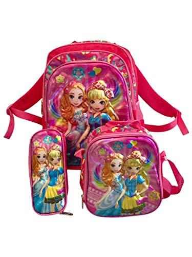 Lia Schulranzen Ranzen 4 Teile mit Rollen Mädchen 3D Prinzessin Design Schulrucksack Rucksack Set 4 teilig Schulranzen Autos rosa groß Schultasche